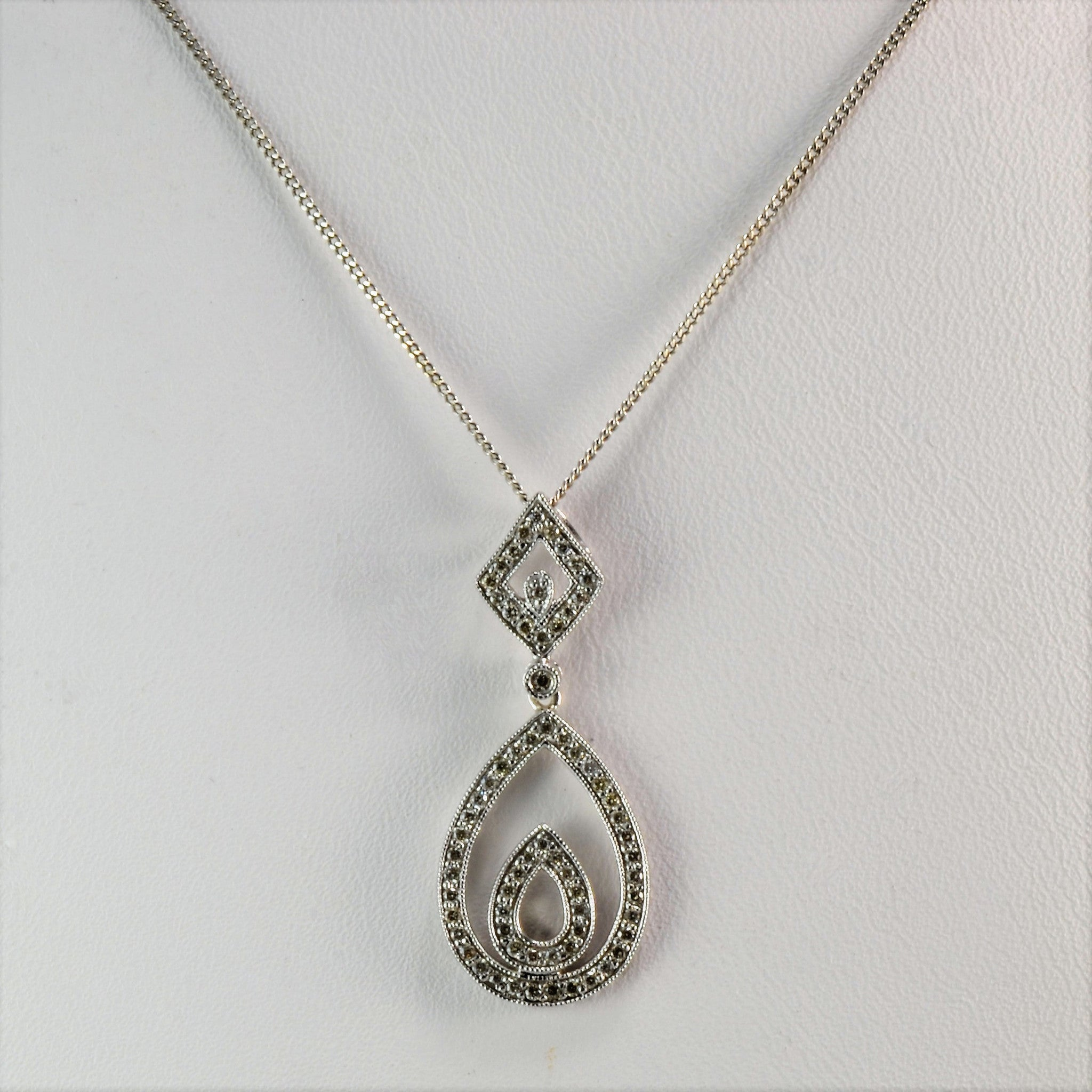 Diamond Pear Shape Drop Necklace | 0.20 ctw, SZ 18"