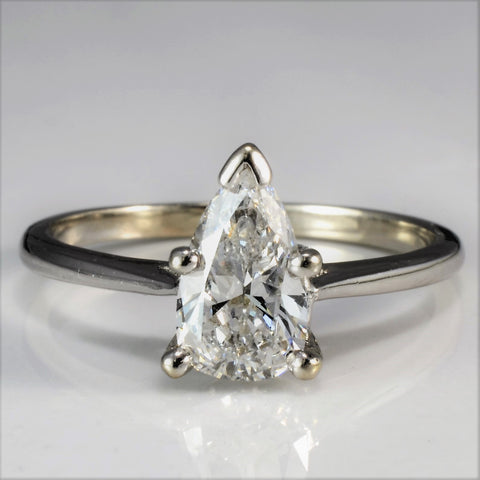 Birks Pear Cut Diamond Solitaire Engagement Ring | 0.88 ct, SZ 7 |