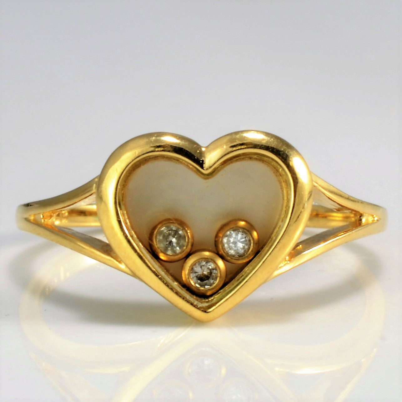 Split Shank Bezel Set Diamond Heart Ring | SZ 6.25 |