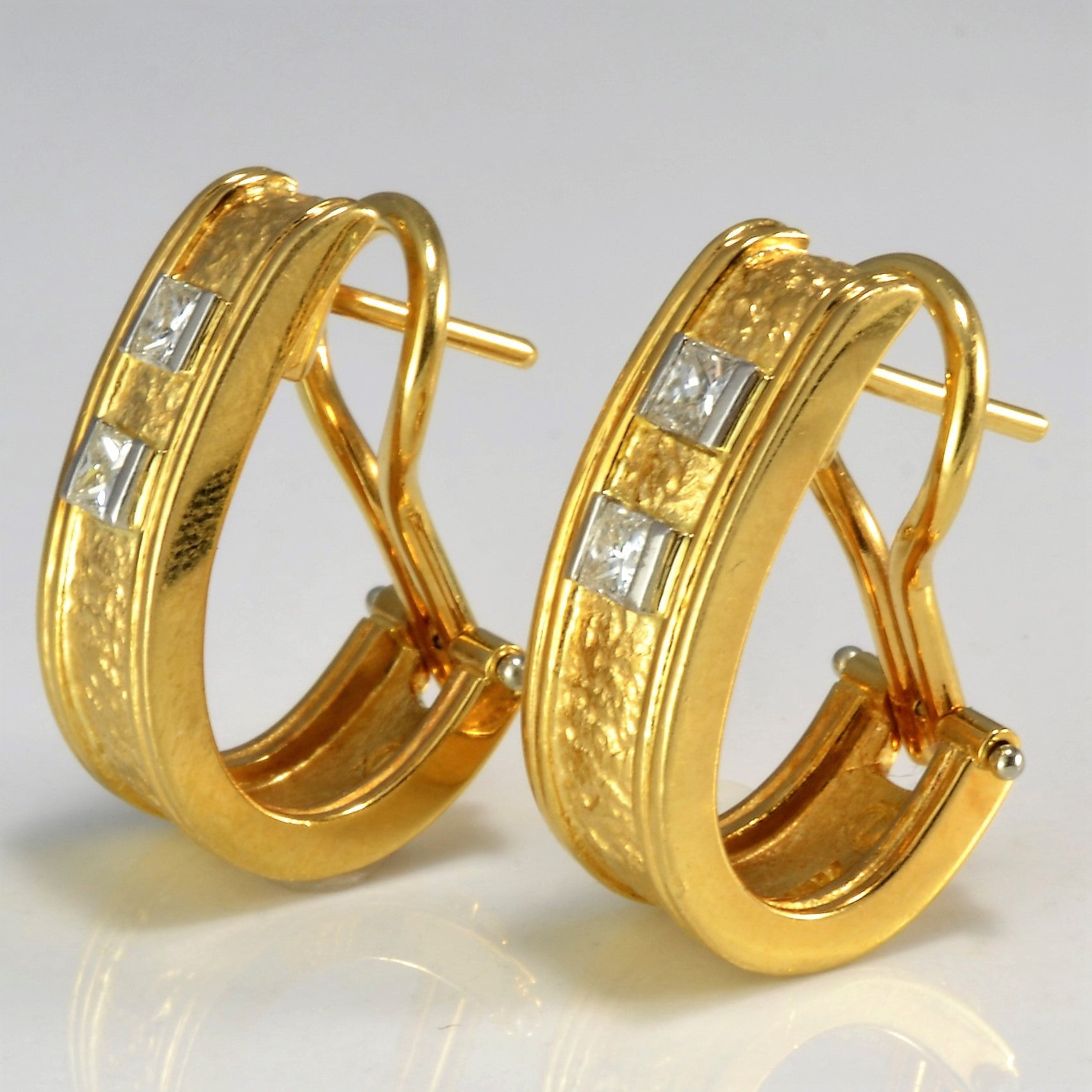 Omega Back Princess Diamond Earrings | 0.56 ctw |