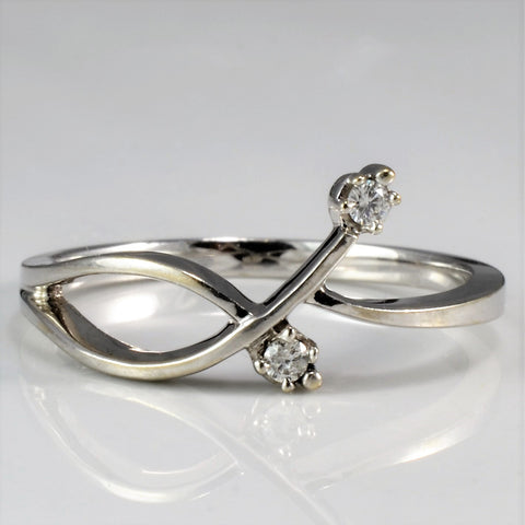 Two Stone White Gold Bypass Ring SZ 6.25