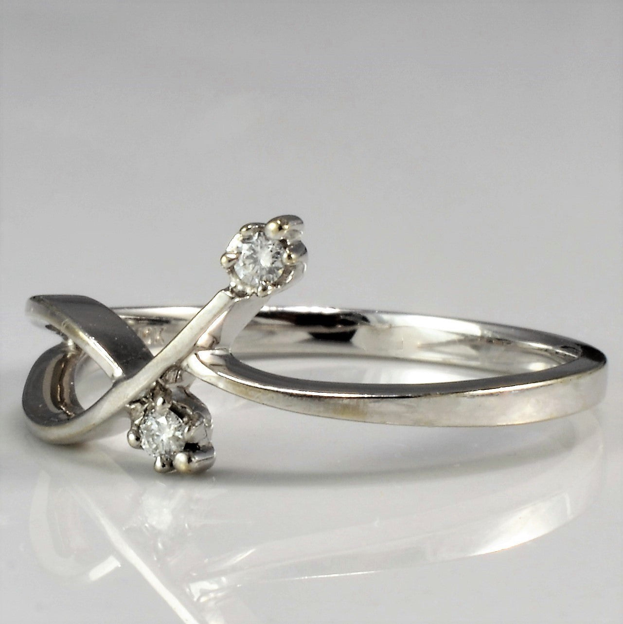 Two Stone White Gold Bypass Ring | SZ 6.25 |
