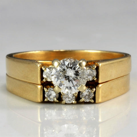 Three Stone Engagement Ring With Wedding Band SZ 7.5