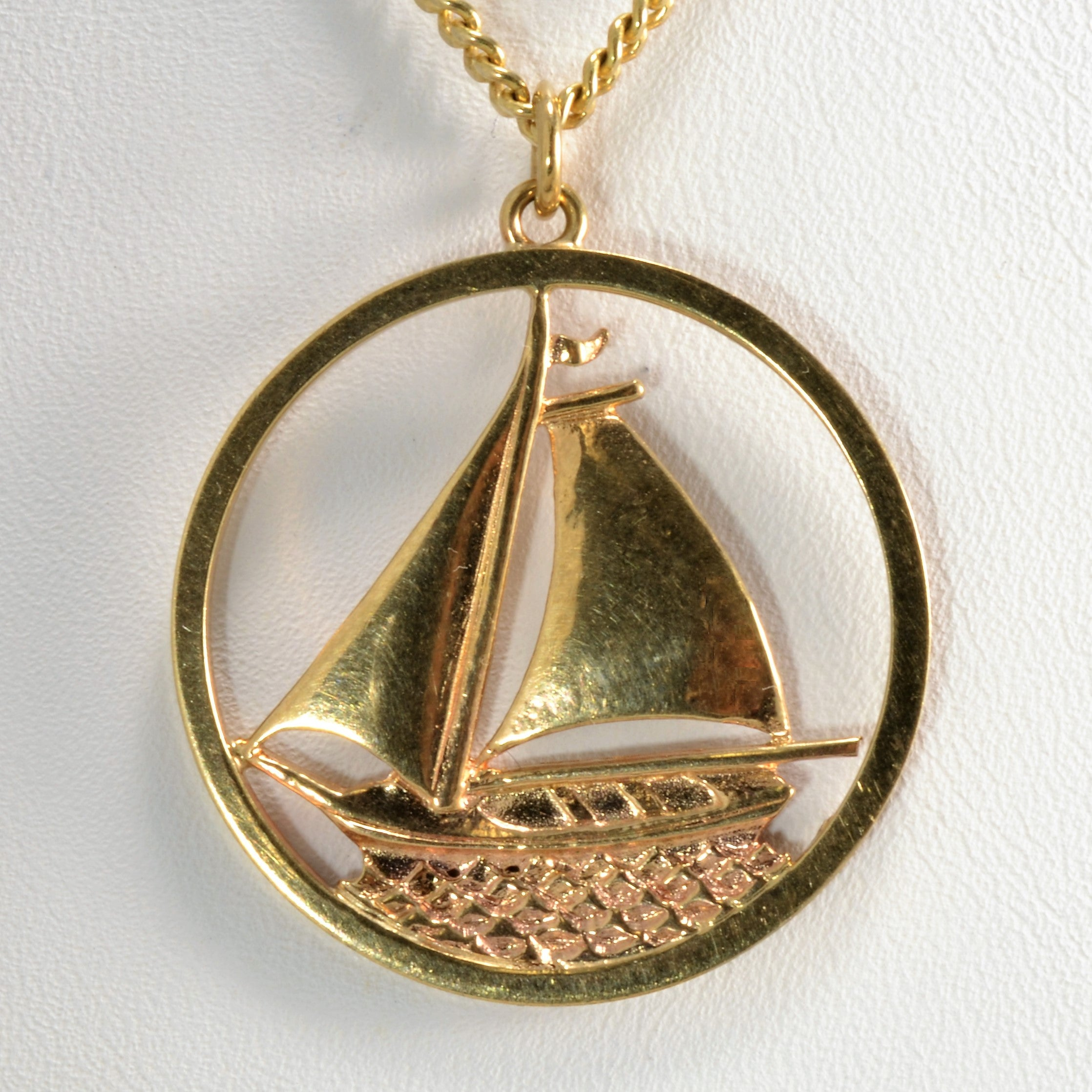Yellow Gold Sailboat Necklace | 26"