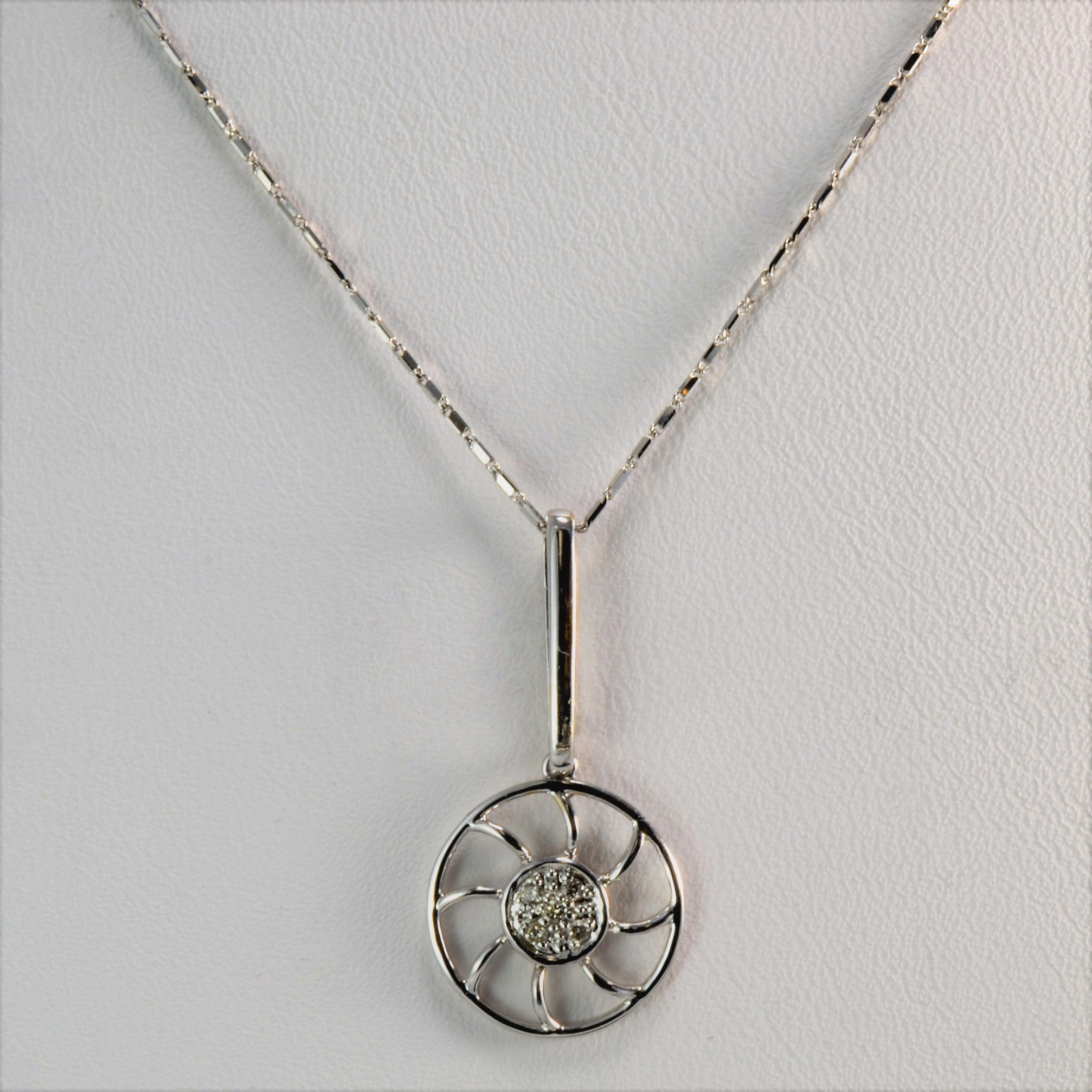 Abstract Diamond Sun Necklace | 18"