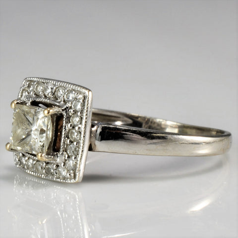Hidden Sapphire Detail Princess Cut Engagement Ring | 0.60 ctw, SZ 5.75 |