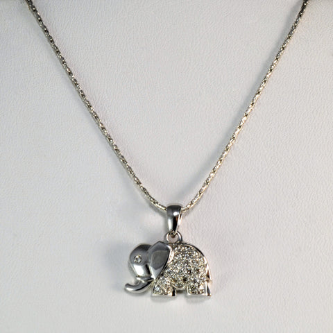 Petite Diamond Elephant Necklace | 0.14 ctw, 18"