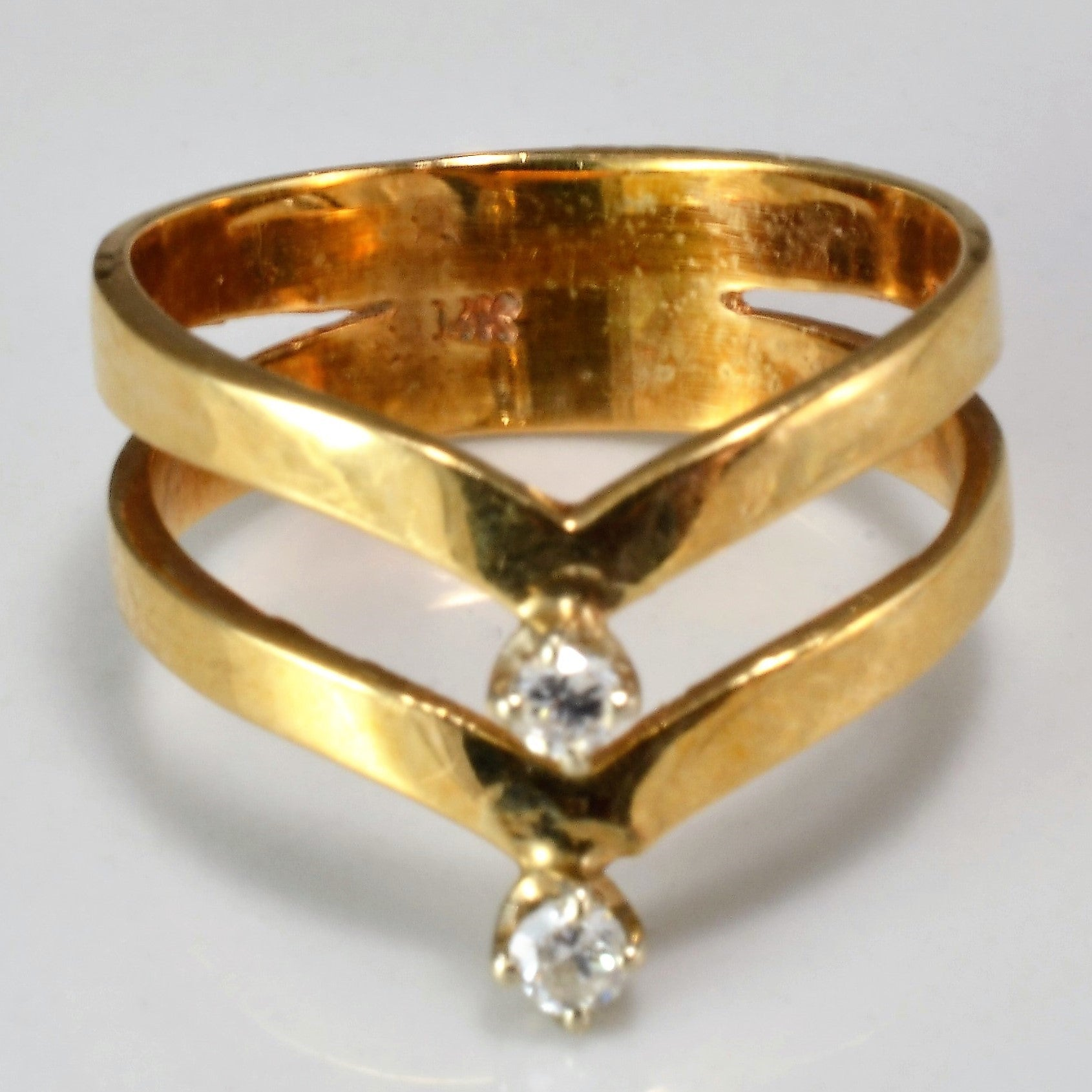 Double Row Chevron Diamond Ring | 0.06 ctw, SZ 3 |