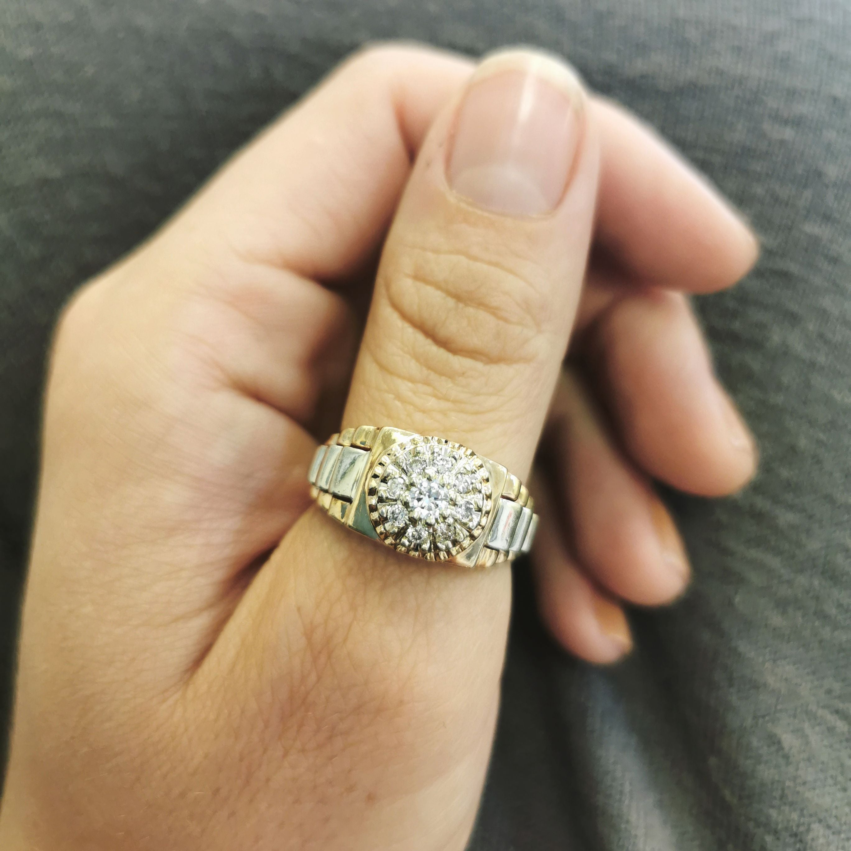 Gold Step Band Diamond Ring | 0.32ctw | SZ 10 |