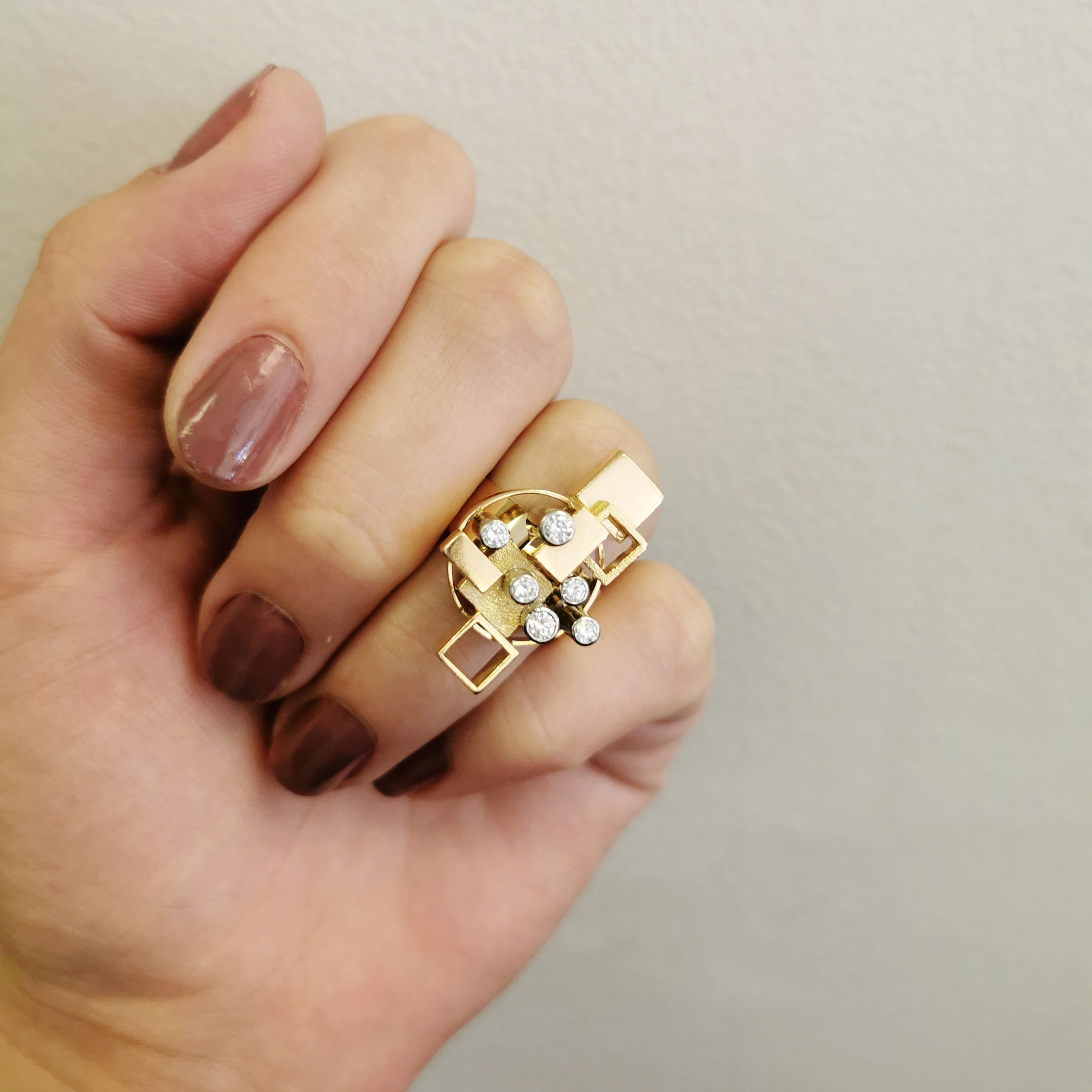 'Cavelti' Geometric Cocktail Ring | 0.32ctw | SZ 6.25 |