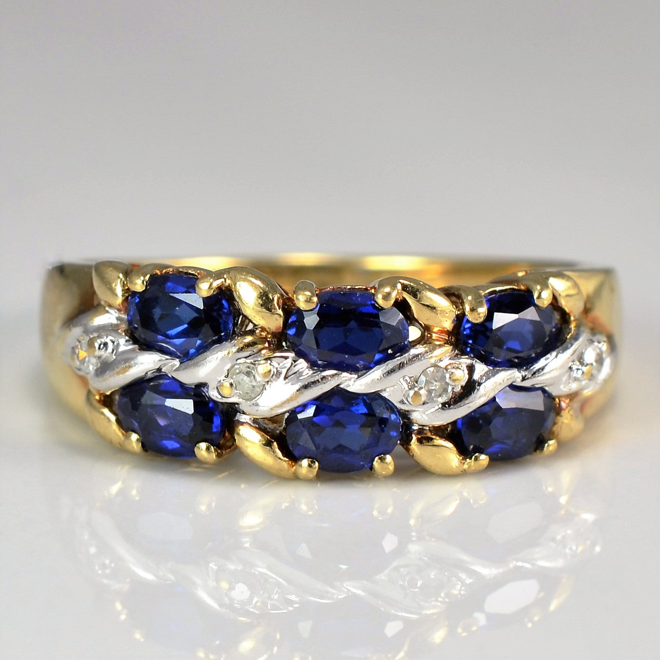 Oval Sapphire Ring With Diamond Twist Accent | 0.04 ctw, SZ 8 |