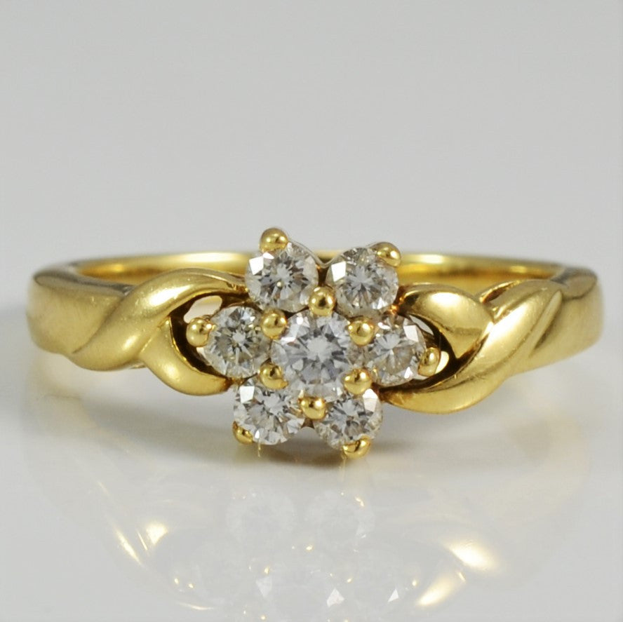 Twisted Floral Diamond Cluster Ring | 0.48 ctw, SZ 6.75 |