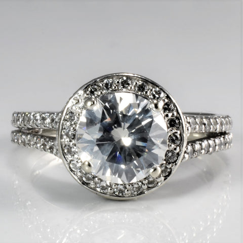 Split Shank Halo Diamond Engagement Ring | 3.01 ctw, SZ 8.25 |
