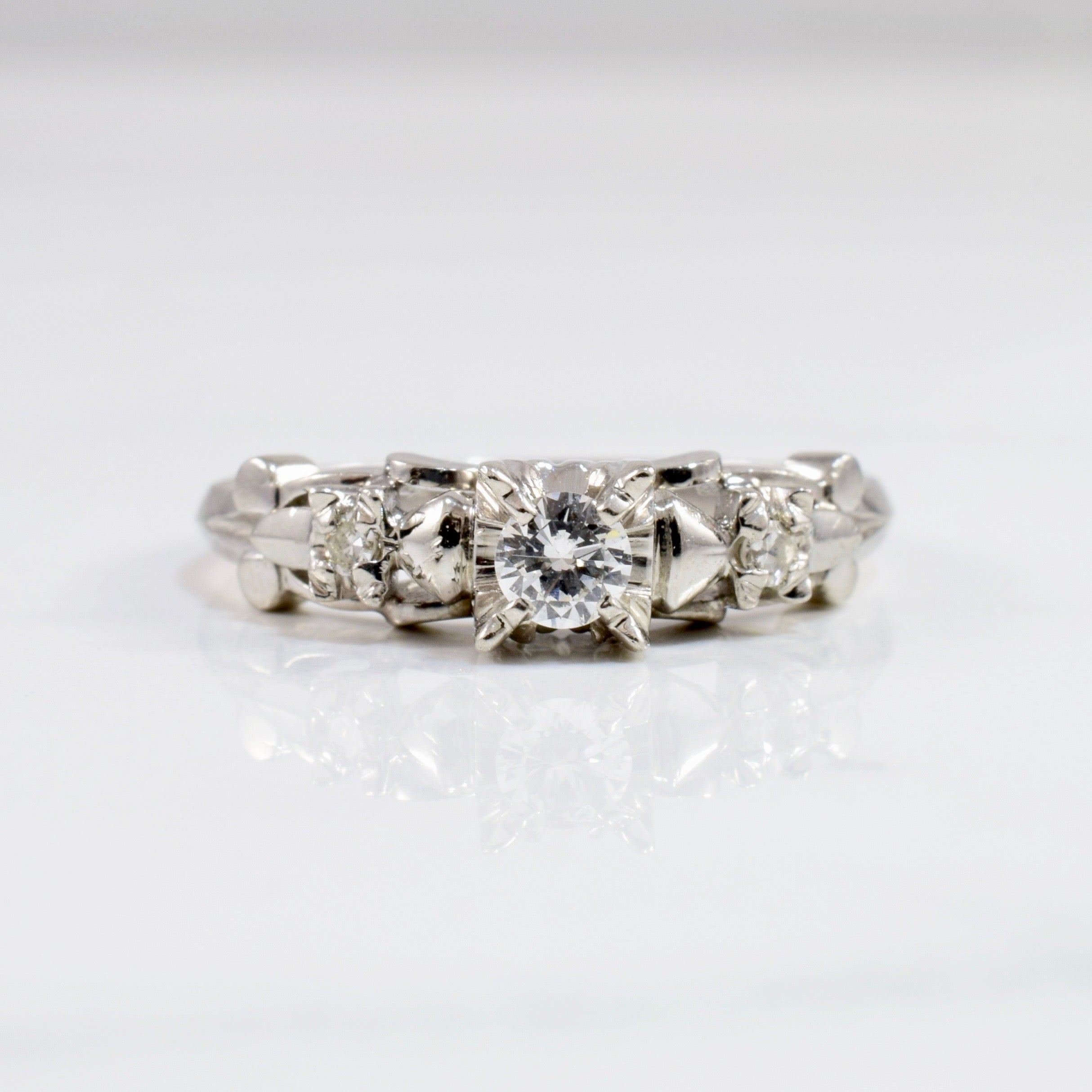 Elegant Retro Era Engagement Ring | 0.17 ctw SZ 6.25 |