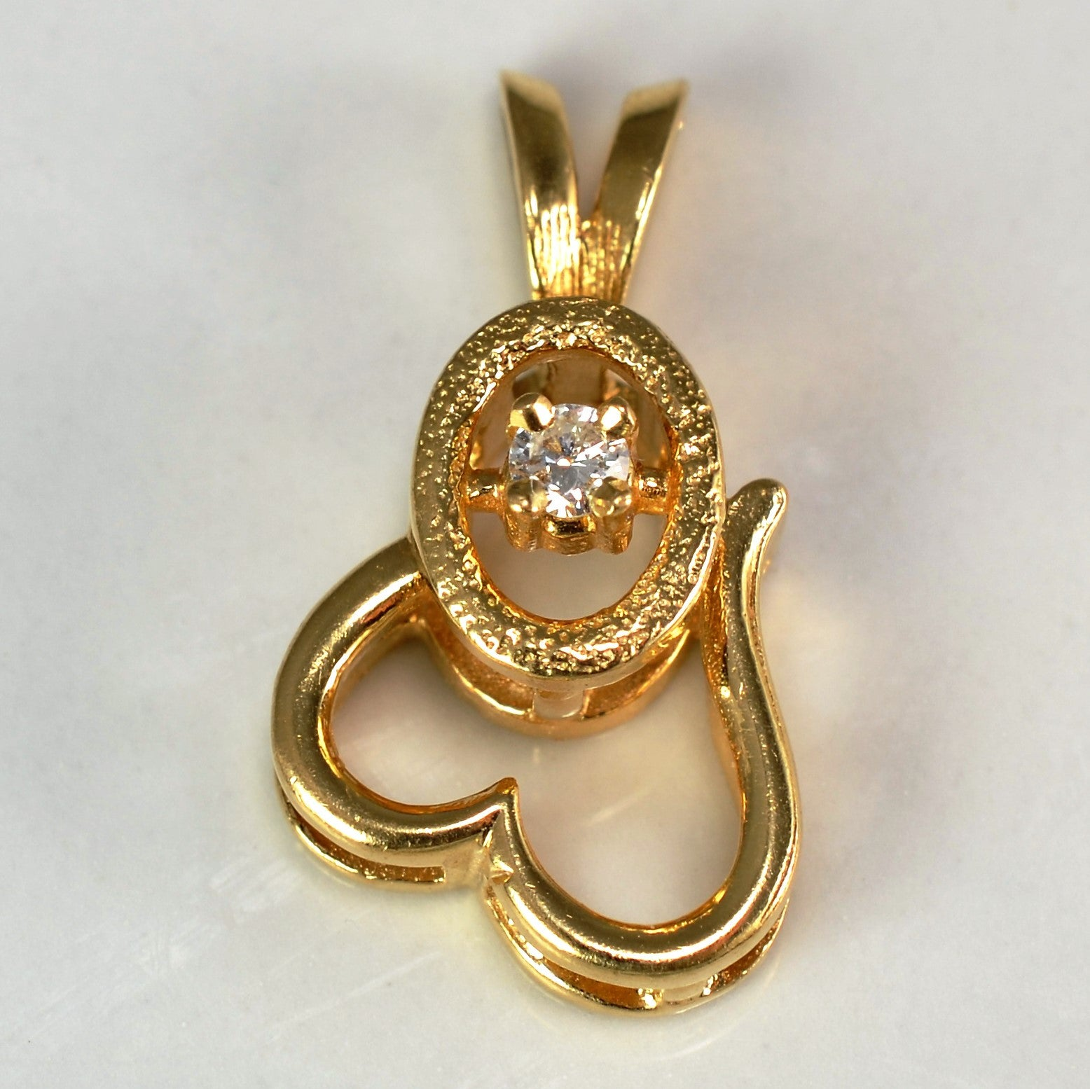 Unique Open Heart & Diamond Pendant | 0.05ct |