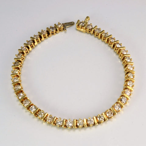 14K Gold Diamond Tennis Bracelet | 6.12 ctw, 7''|