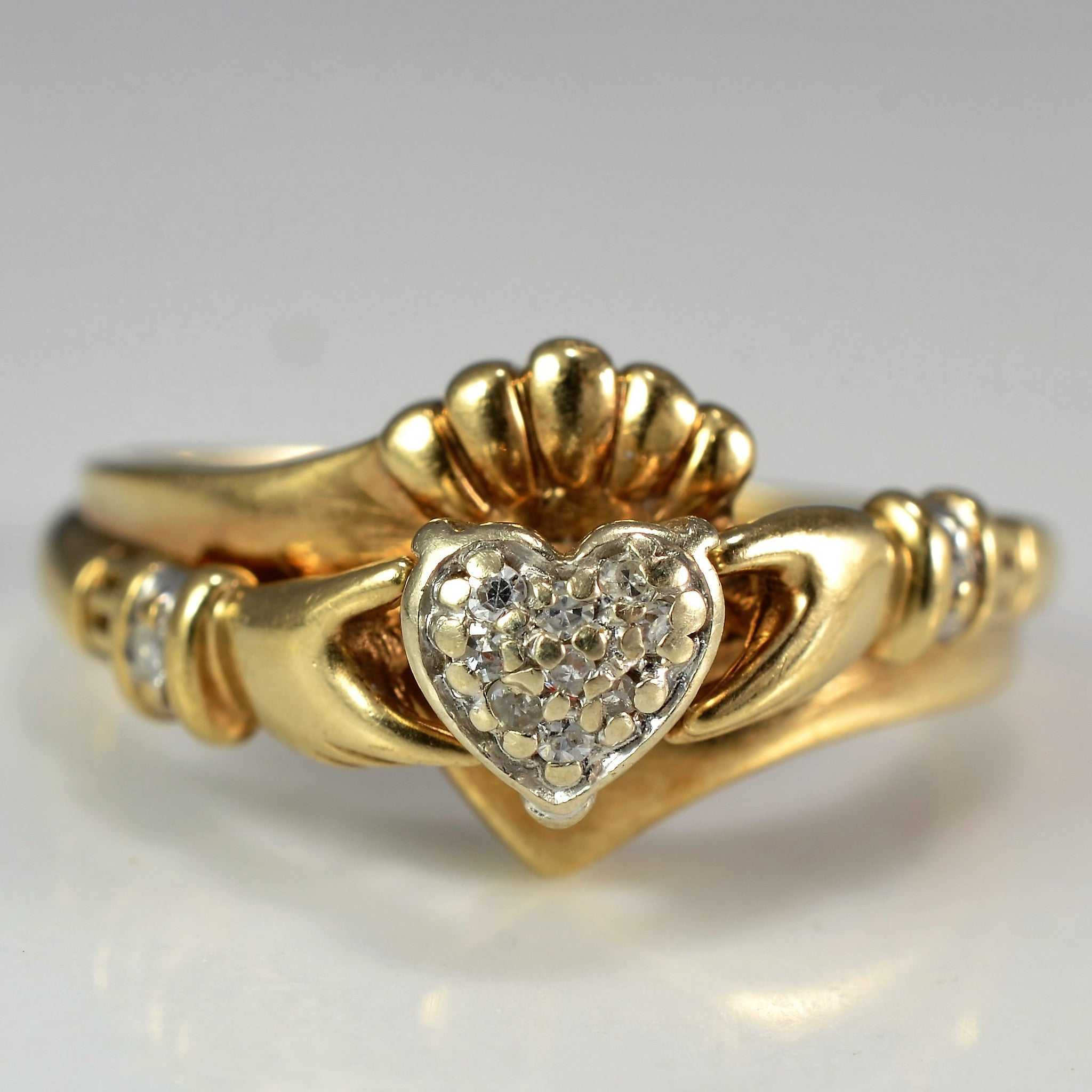 Diamond Heart Claddagh Ring | 0.05 ctw, SZ 6 |