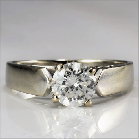 Wide Band 0.60 ct Solitaire Engagement Ring SZ 4.5