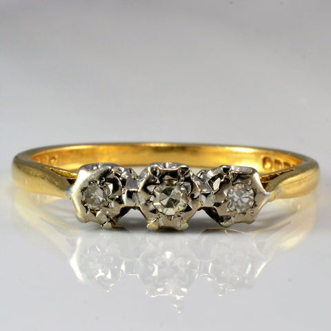 Three Stone Retro Era Engagement Ring | 0.08 ctw, SZ 6.25 |