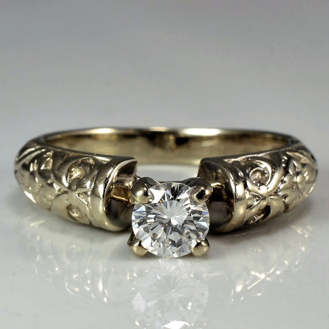 Detailed Band Solitaire Engagement Ring | 0.40 ct, SZ 5.75 |