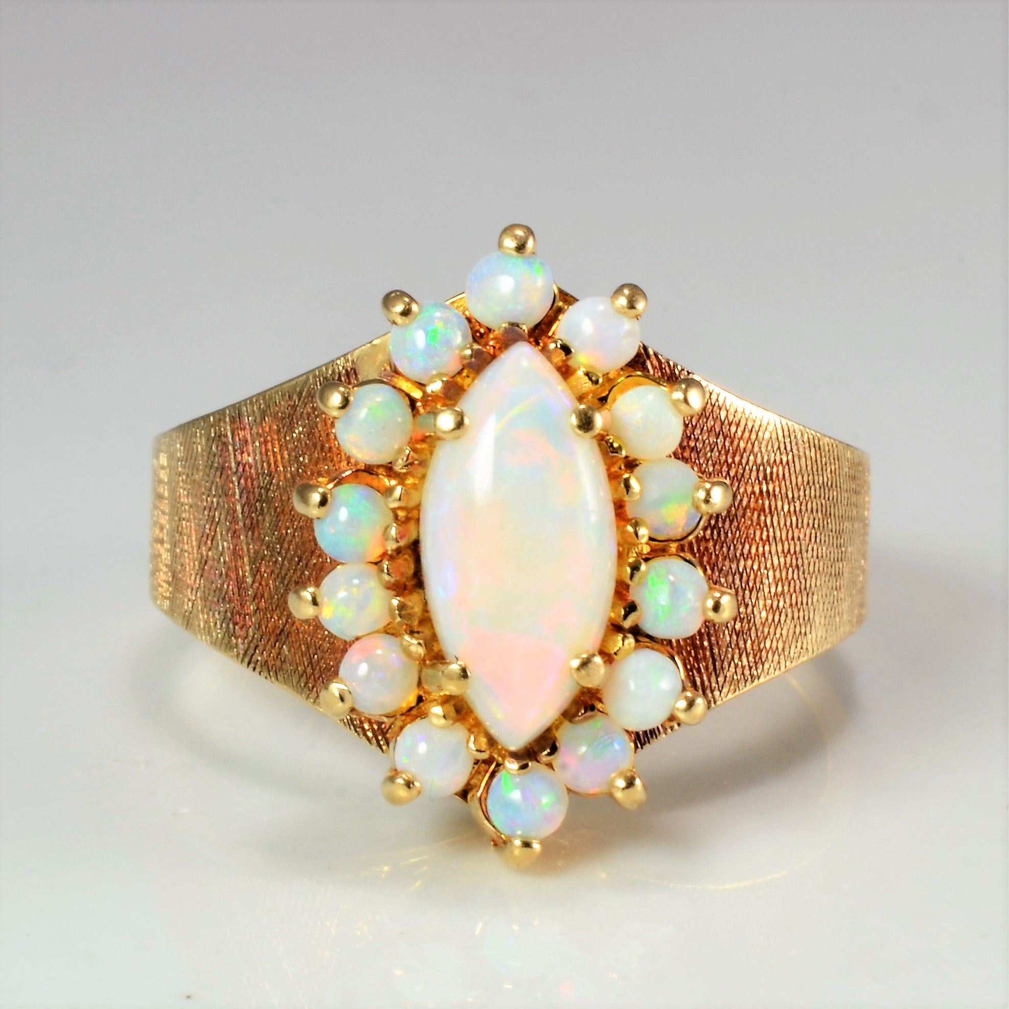 'Birks' Marquise Cluster Opal Ring | SZ 7 |