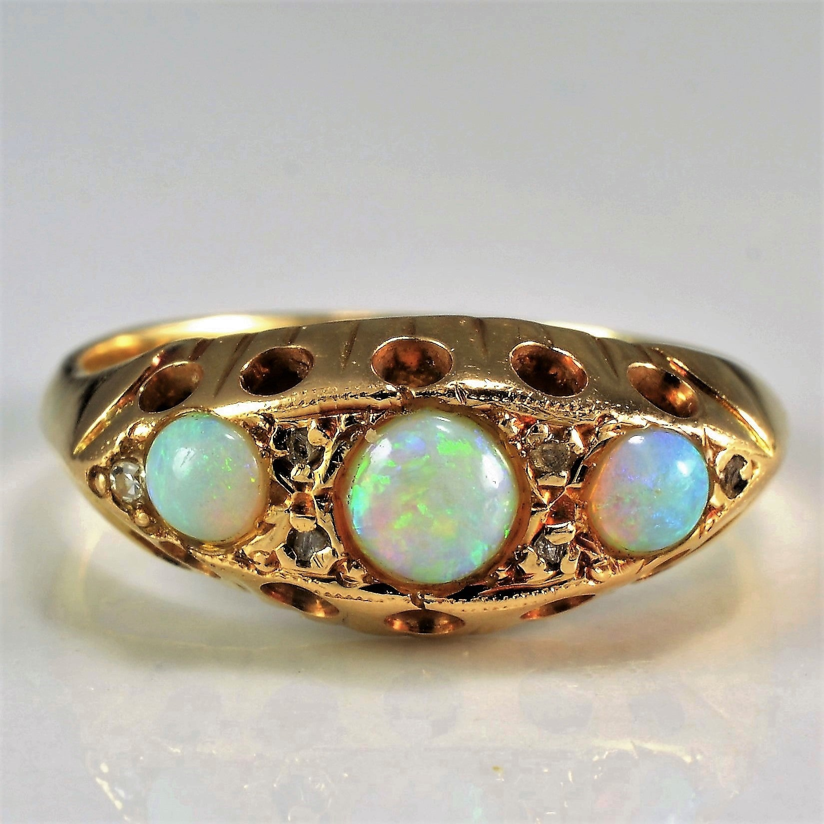 Victorian Era Opal & Diamond Ring  | SZ 4.75 |