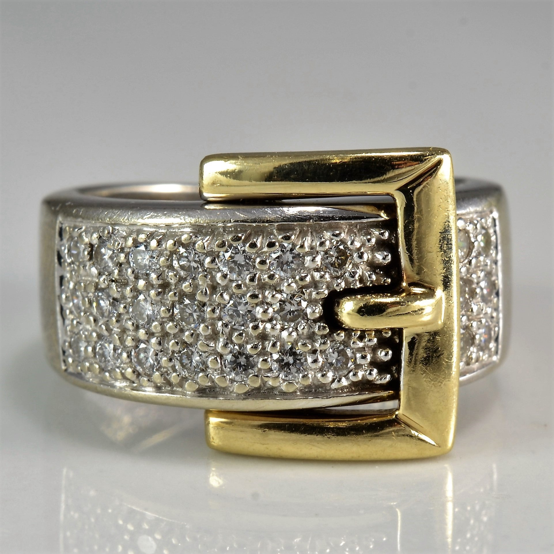 Two Tone Belt Buckle Fashion Ring | 0.26 ctw, SZ 4.5 |