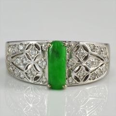 Art Deco Jade & Diamond Ring | 0.15 ctw, SZ 6.25 |