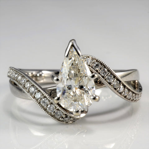 High Set Pear Diamond Bypass Engagement Ring | 1.29 ctw, sz 5.25 |