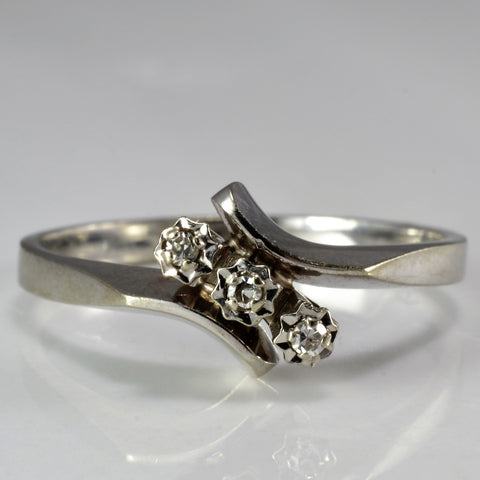 Three Stone Diamond Bypass Ring SZ 5.75
