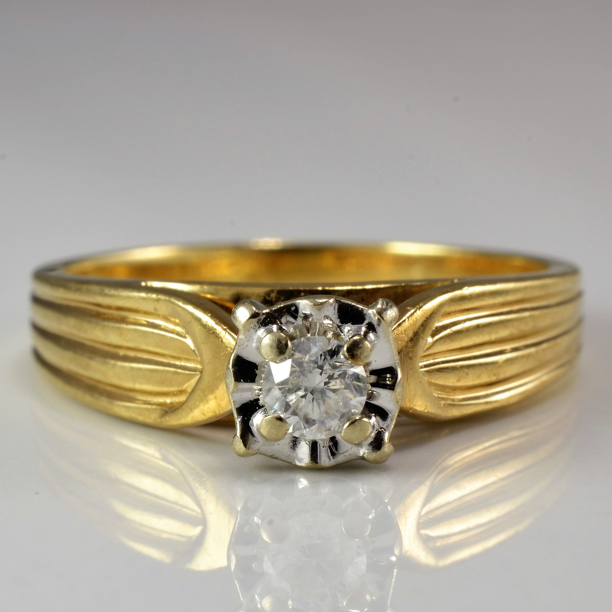 Wide Band Illusion Solitaire Ring | 0.13 ct, SZ 7 |