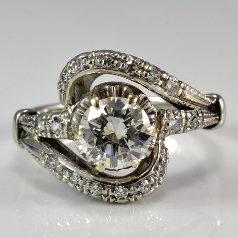 Ornate Bypass Engagement Ring | 0.89 ctw, SZ 5.5 |