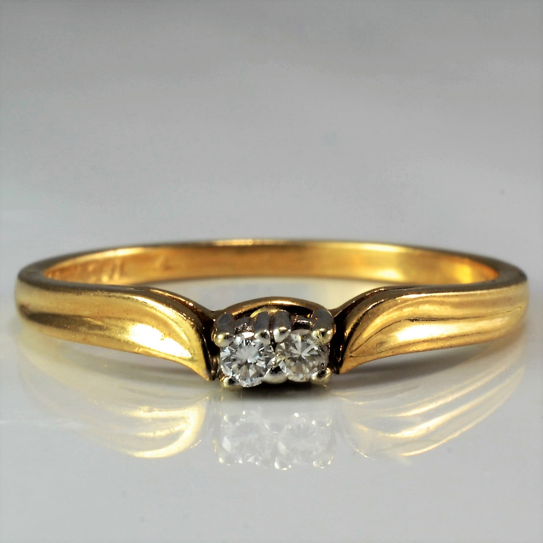 Contoured Two Stone Wedding Band | 0.04 ctw, SZ 6 |