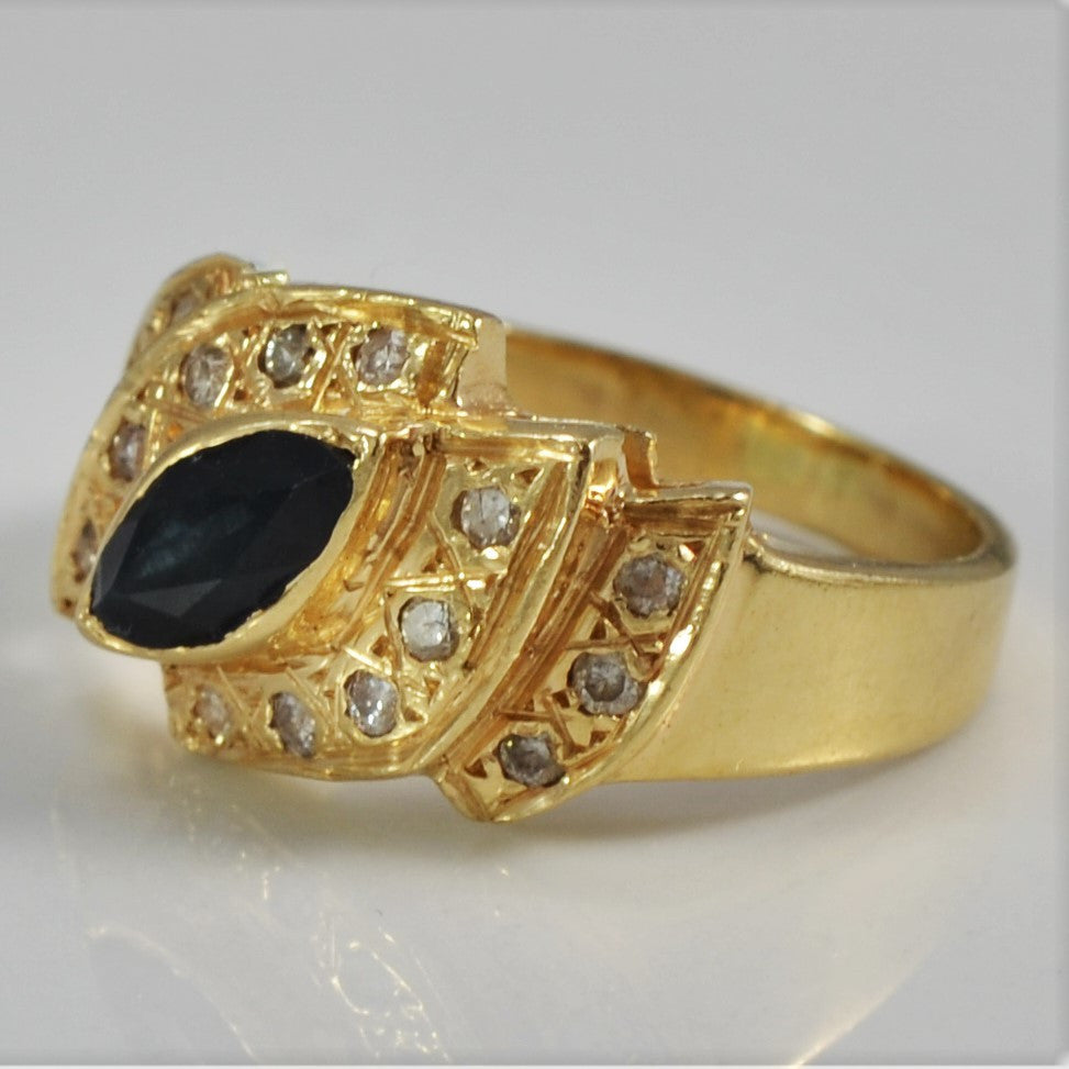 Retro Diamond & Sapphire Cocktail Ring | 0.16 ctw, SZ 6 |