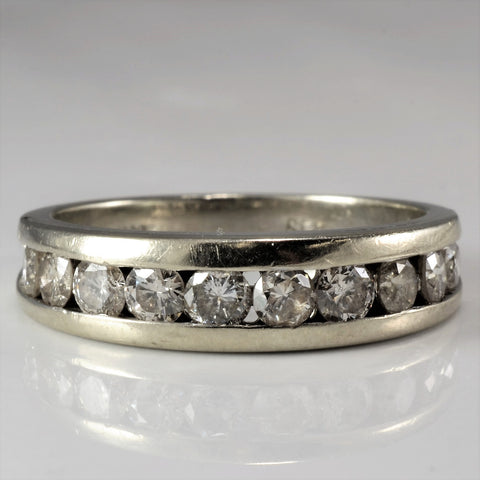 Wide Diamond Channel Band SZ 7.25