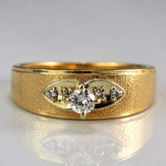 Milgrain Leaf Detailed Vintage Engagement Ring | 0.18 ctw, SZ 8 |