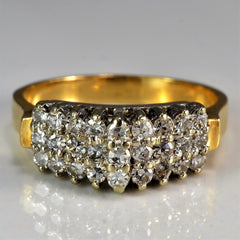 Graduated Triple Row Diamond Ring | 0.50 ctw, SZ 6.75 |