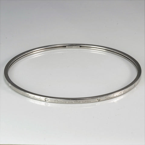 White Gold Engraved Birks Bangle | 0.09 ctw, 8.5"