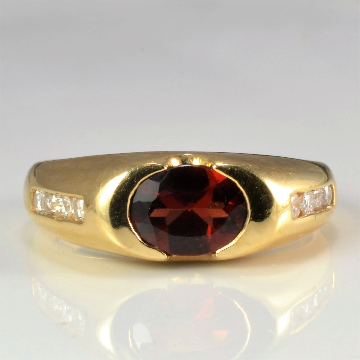 Semi Bezel Set Garnet & Diamond Ring | 0.16 ctw, SZ 8.75 |