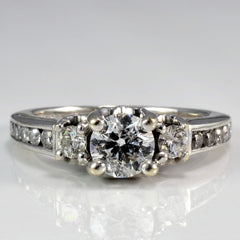 Cathedral Three Stone Diamond Engagement Ring | 0.81 ctw, SZ 5 |