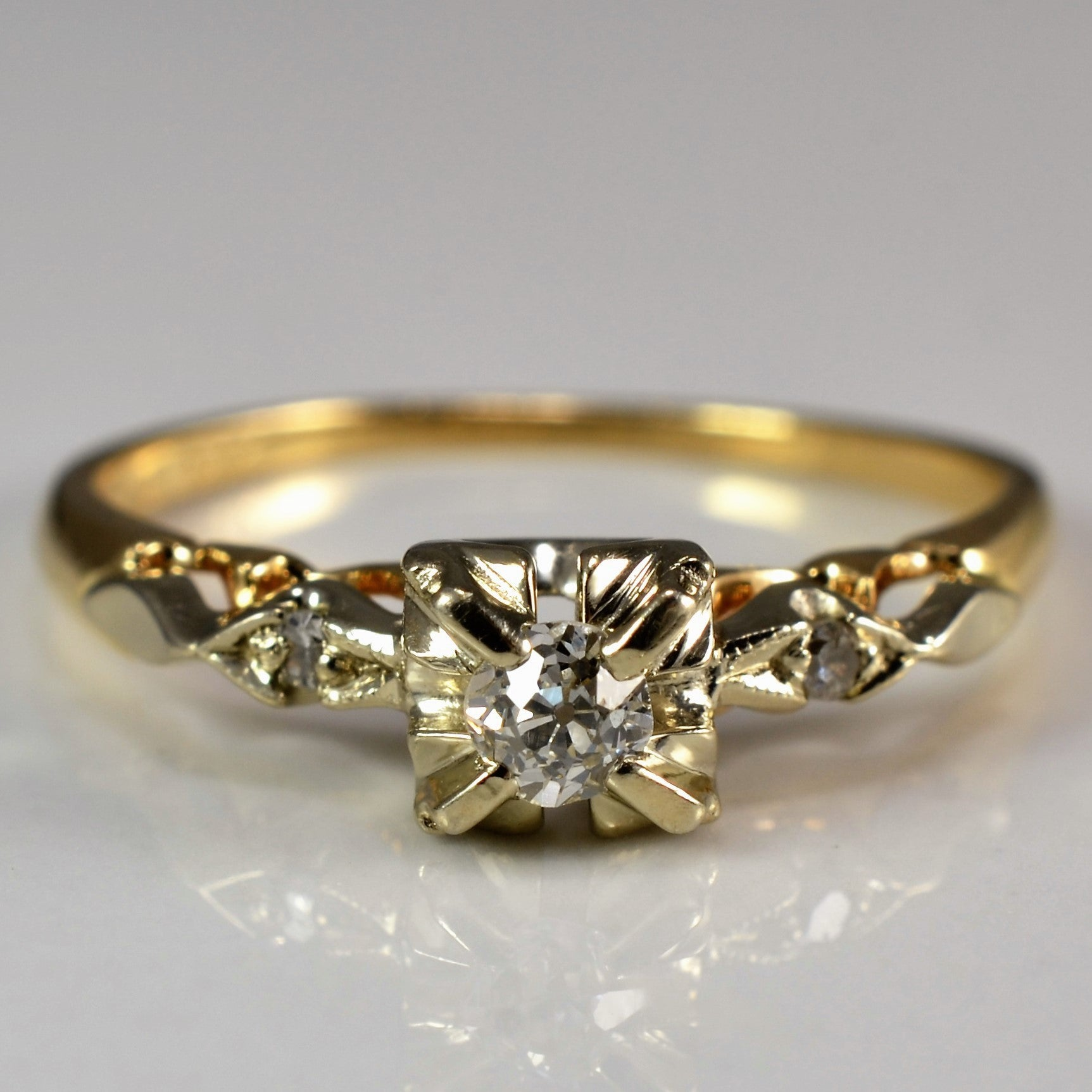 old platinum mine product cut art gold ring in engagement deco yellow diamond antique rings home