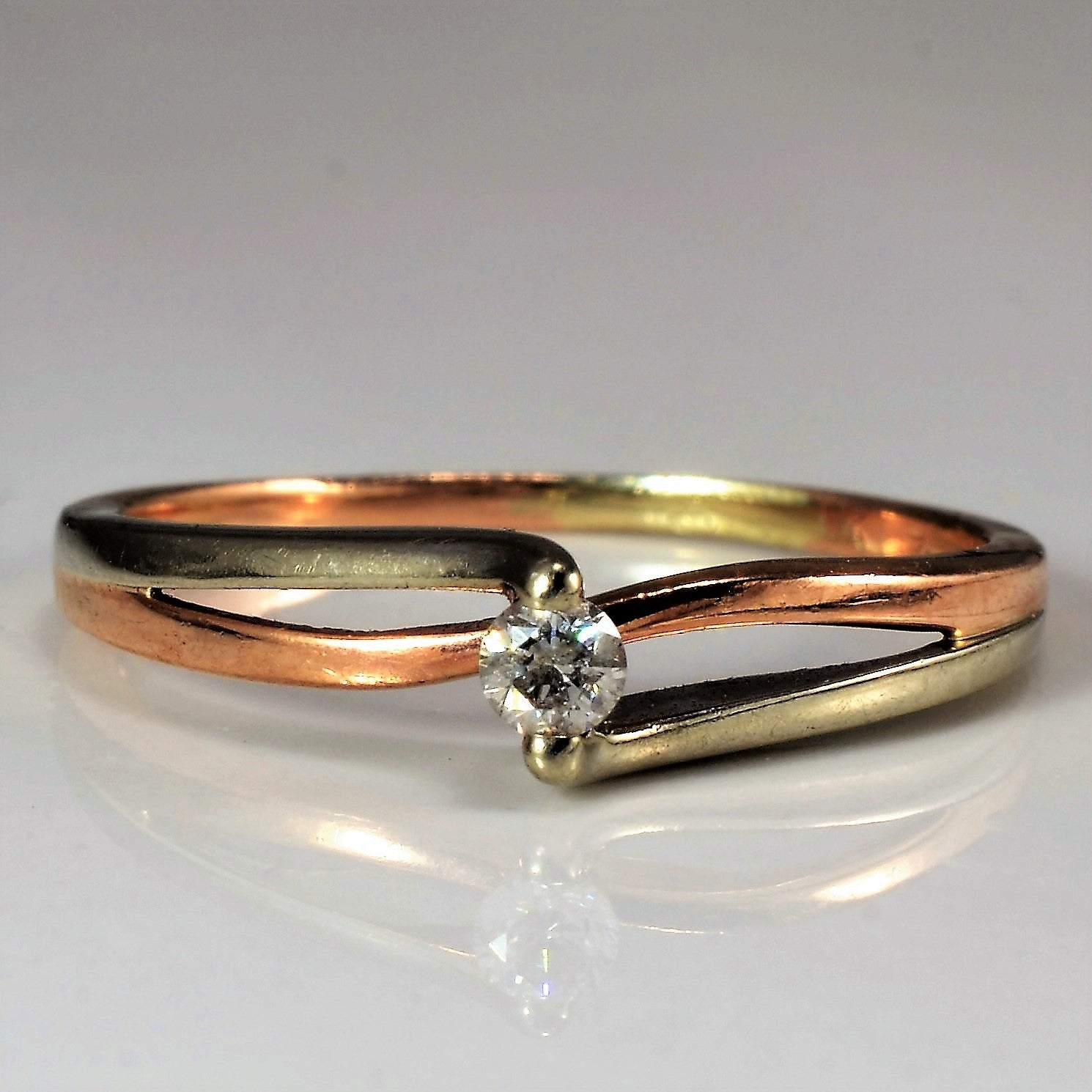 White & Rose Gold Diamond Bypass Ring | 0.06 ct, SZ 6.75 |