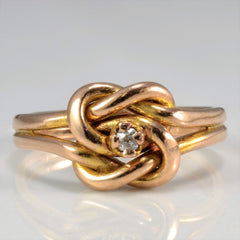 Rose Gold Solitaire Diamond Knot Ring | SZ 3.5 |