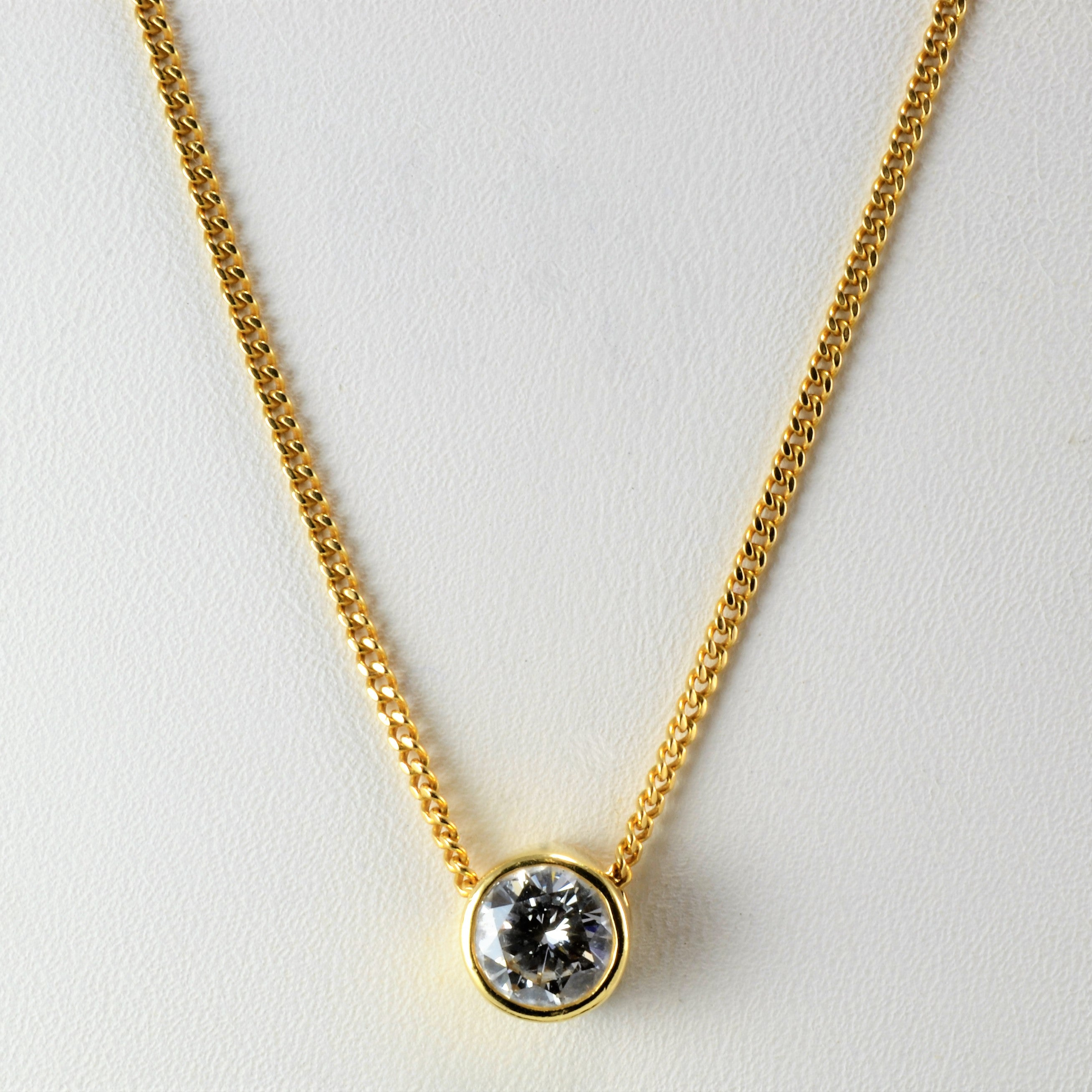 solitaire cut setting double diamond necklace gold in bale round pendant yellow