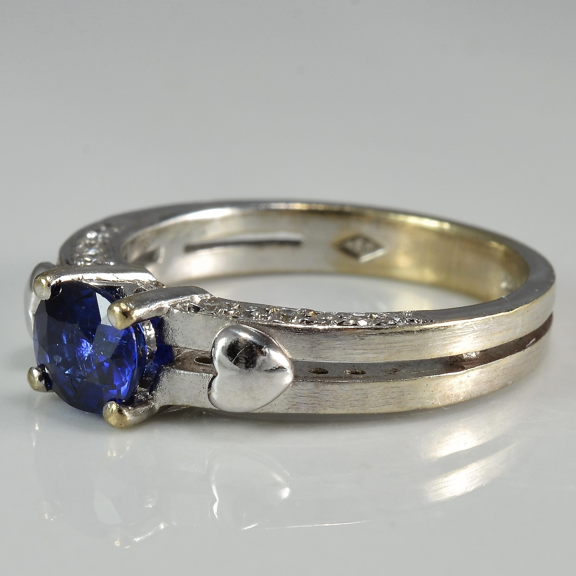 Sapphire & Hearts Engagement Ring | 0.35ctw | SZ 5.75 |