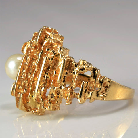 'BIRKS' Textured Pearl Cocktail Ring | SZ 6.5 |