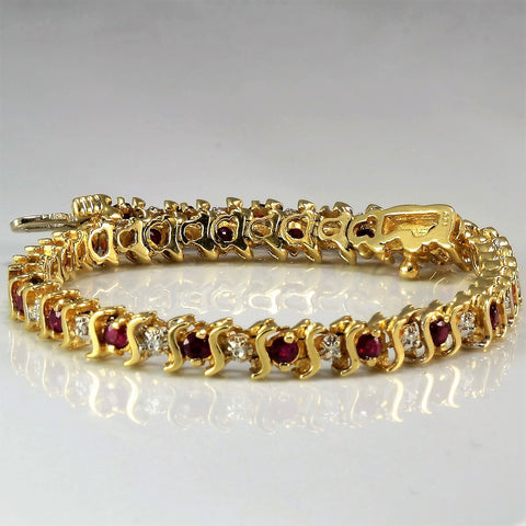 Alternating Ruby & Diamond Tennis Bracelet | 0.25 ctw, 7"