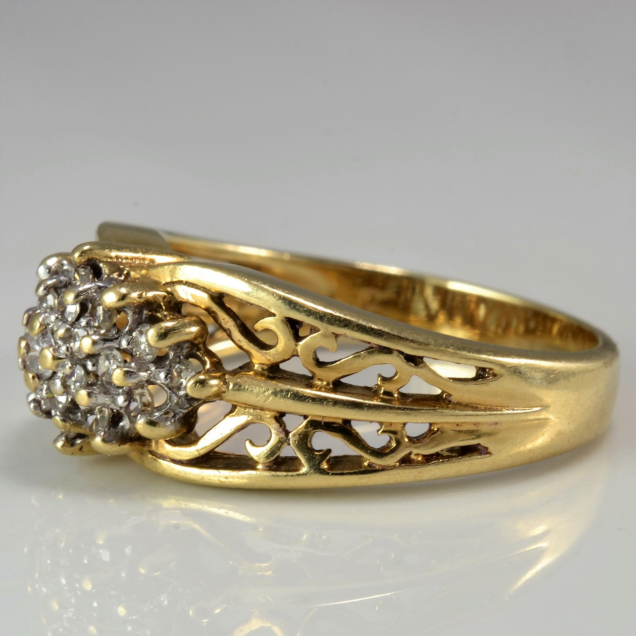 Filigree Cocktail Cluster Ring | 0.20 ctw, SZ 6.5 |