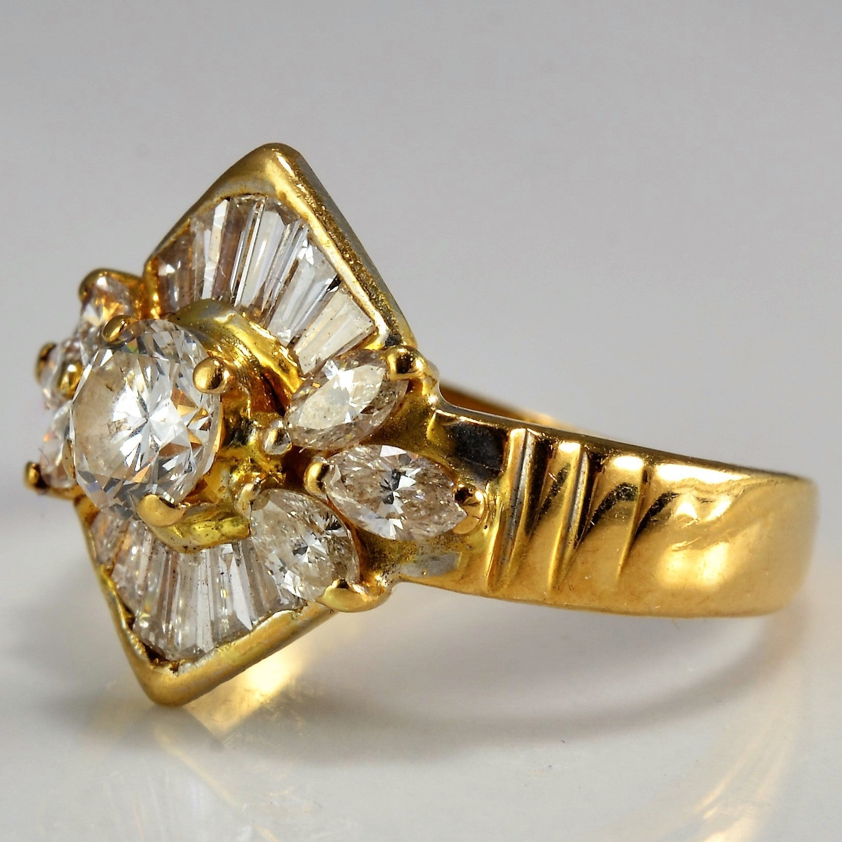 Vintage Multi Stone Diamond Engagement Ring | 0.97 ctw, SZ 4.75 |