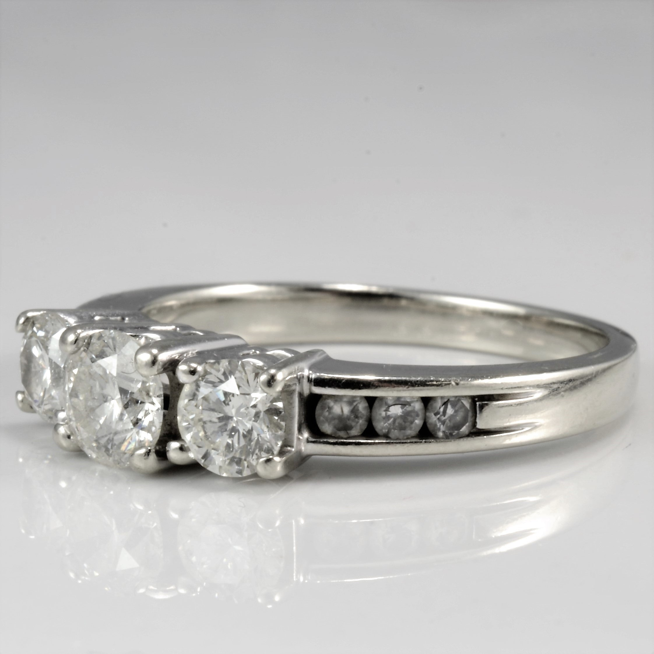 Elegant Three Stone Diamond Engagement Ring | 0.99 ctw, SZ 6.75 |